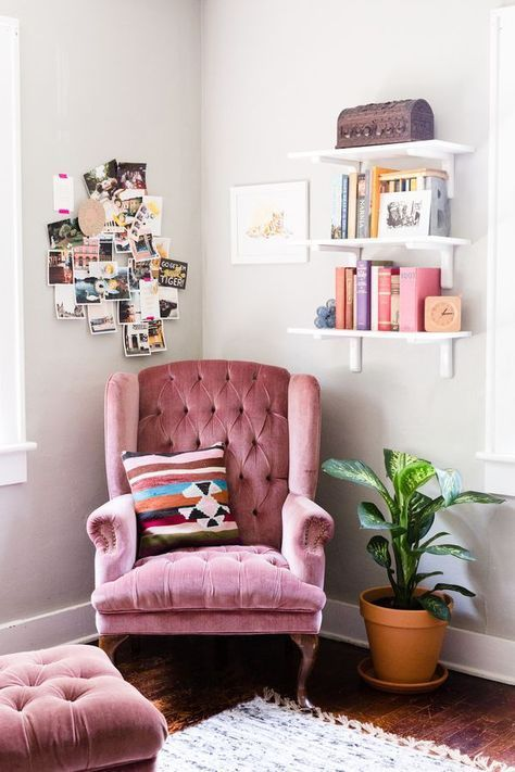 great pink idea for reading nook cozy home