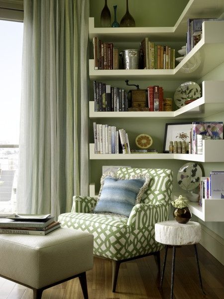 reading nook corner in green white table and cozy home