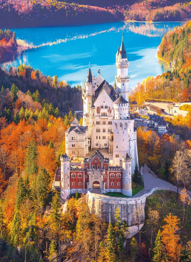 spectacular-scenery-Bavaria,-Germany-This-is-a-classic-view-of-Neuschwanstein-in-southern-Germany-from-the-northwest-in-the-fall,-showing-the-castle-and-Alpsee