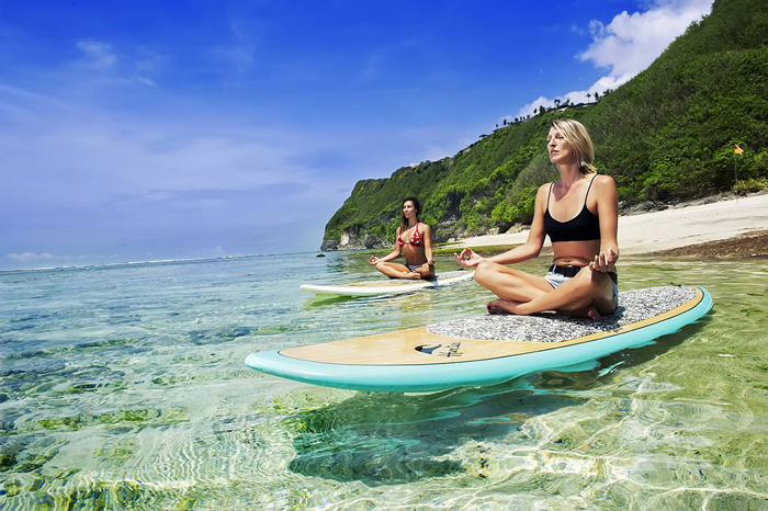 Bali Indonesia Yoga On Water Surf Chicks Beach