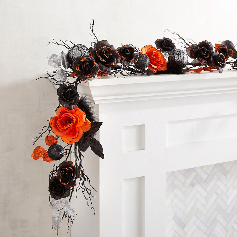 Fireplace-Halloween-Black-Rose-Garland-Halloween-lights-outside-halloween-decorations-diy-halloween-decorations-best-halloween-decorations--halloween-yard-decorations-vintage-halloween-decorations