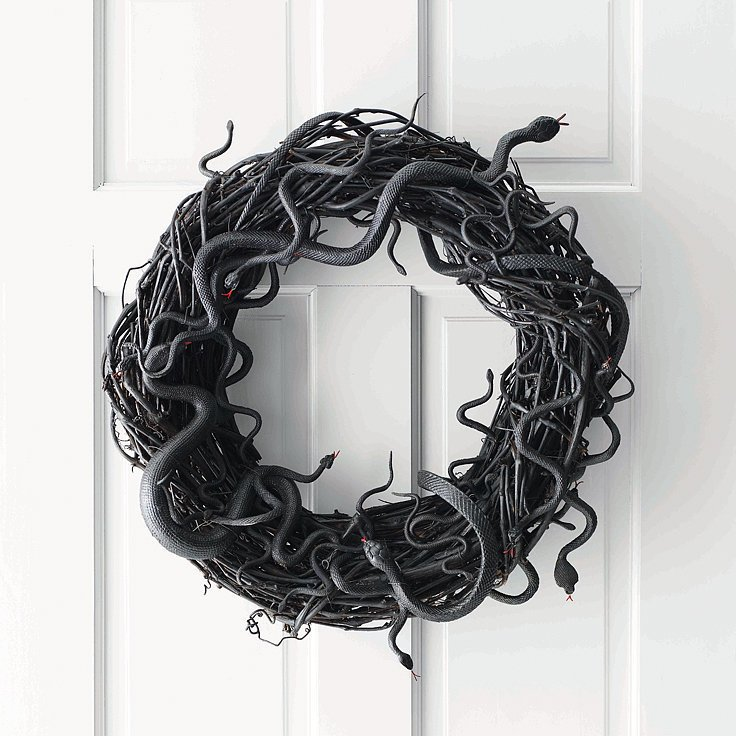 Halloween Door Decoration Ideas Halloween Wreath Black Snake Wreath