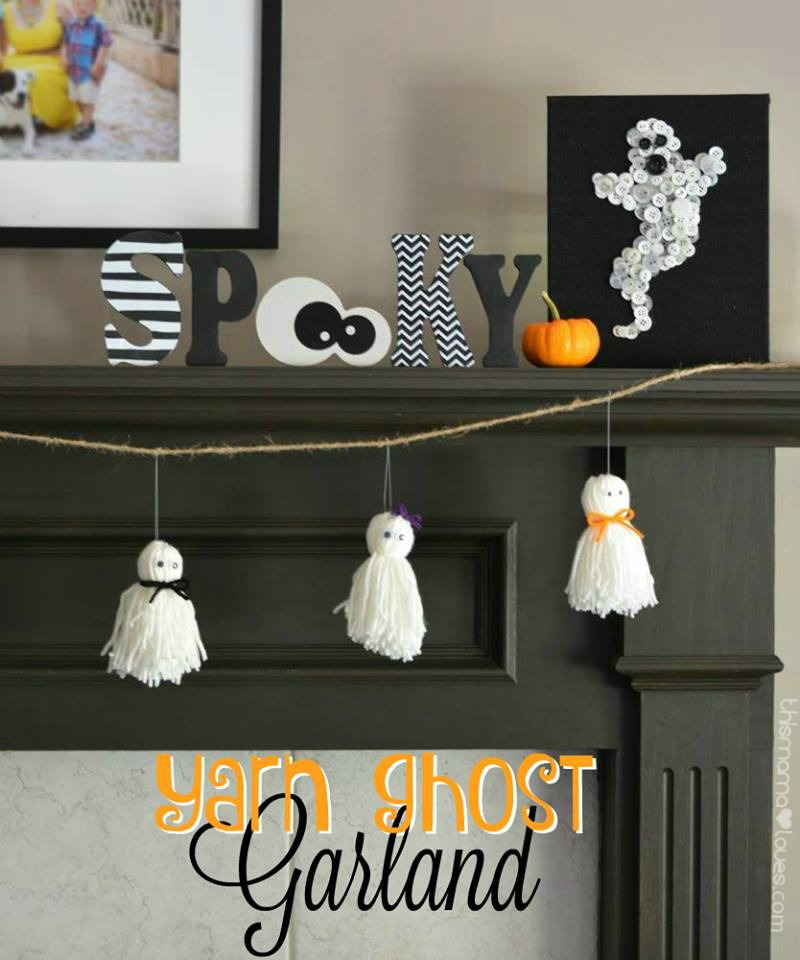 Halloween Gerland Ideas Ghost Gerland above fireplace