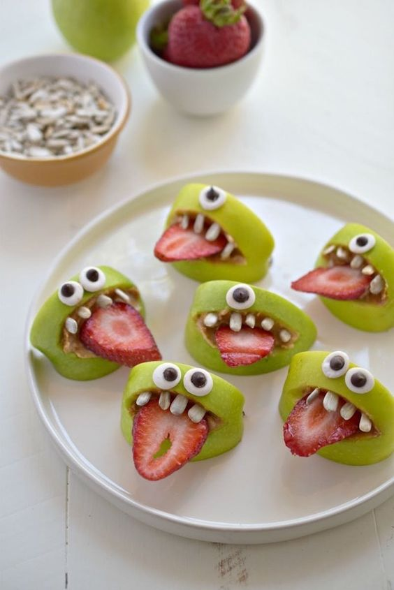 Halloween fun food green cookies bih teeth strawberries
