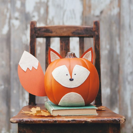 Halloween interesting pumpkin ideas fox pumpkin