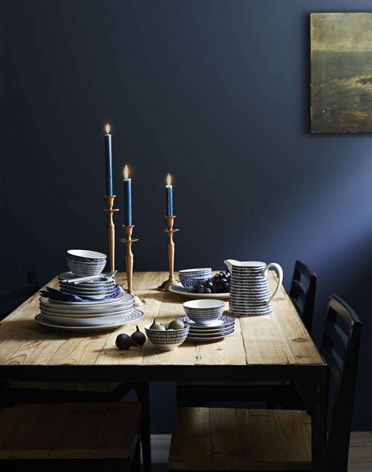 Navy Blue Decor Fall Trends Navy Blue Dishes Cozy Dining Room Fall Interior Ideas