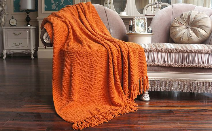 Orange knitted blanket classic style soft velvet classic sofa trends in fall