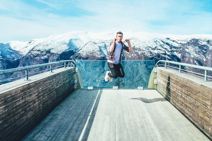The-Fjords,-Norway-Man-Jumping-Selfie-Selfies-Selfie-take-a-selfie-the-selfie-best-selfie-selfie-stick