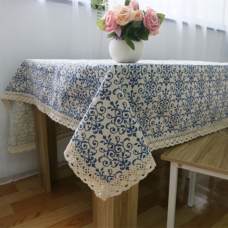 White and blue tablecloth retro ornaments vas on table fall decorations