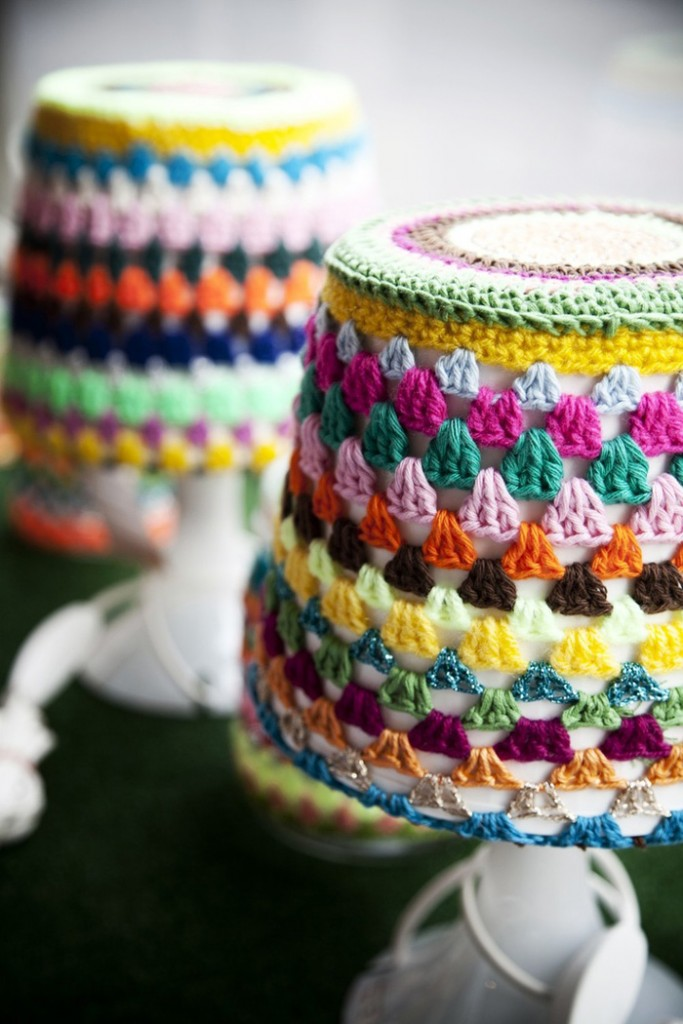 Colorful Chunky Cozy Lamp Covers Crochet Home Décor