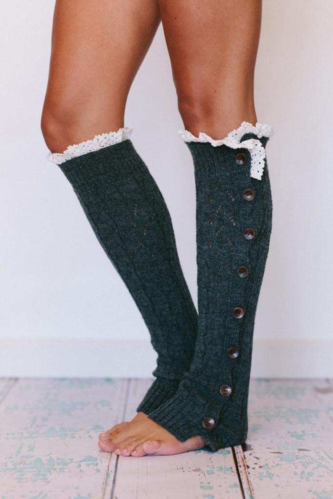 Cute-Knit-Leg-Warmers-Grey-Womens-Cold-Winter-Days-Warmer