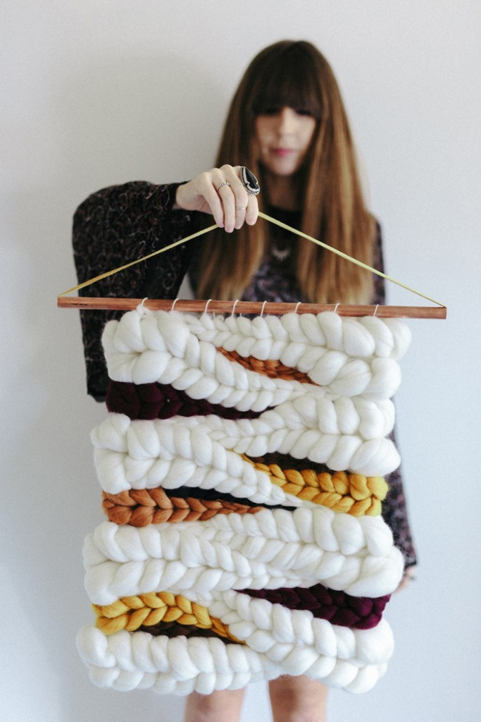 Knitted White Yellow Wall Hanging Crochet Home Decor