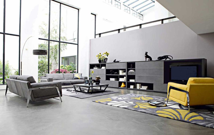 Modern-Interior-In-Grey-and-Yellow-Grey-Interior-Livingroom-Floral-Carpet-colors-color-palette-colour-schemes-complementary-colors-colour-combination-basic-color-wheel
