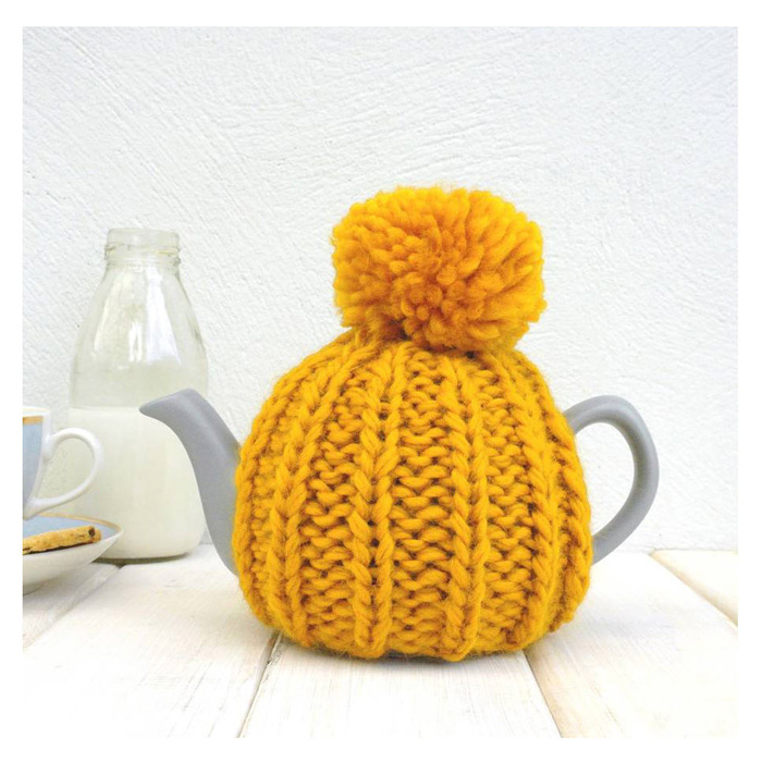 Two-Cup-Tea-Cosy-Tea-Pot-Mustard-With-Pompom-crochet-home-décor-knitted-decorations-knitted-home-decor-crochet-wall-art