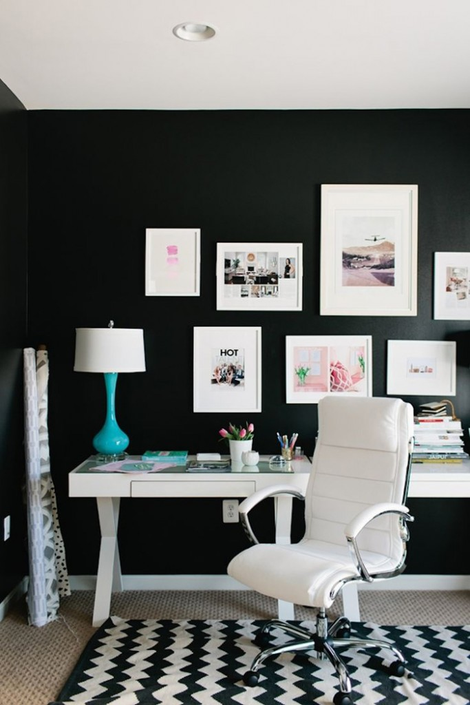 Black-and-White-Feminine-Office-Design-Black-Wall-on-Workplace-home-office-feminine-home-office-home-office-ideas-home-office-desk-home-office-design