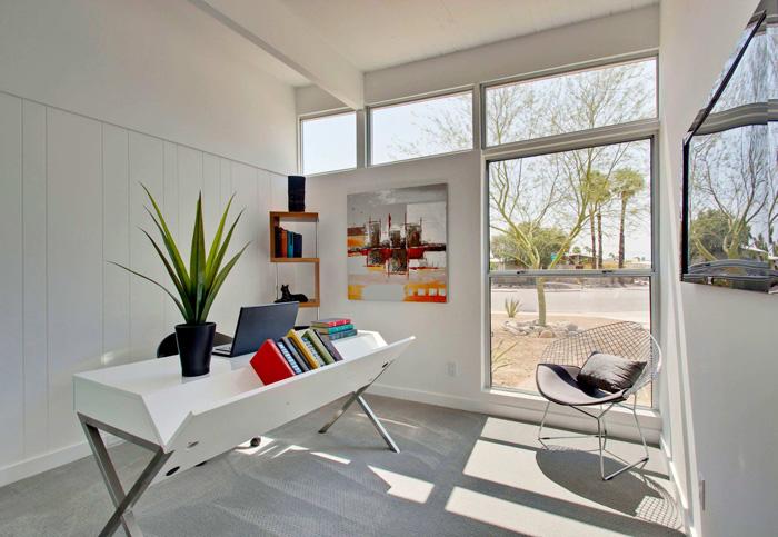 Feminine-Desk-Set-White-Workplace-Feminine-Office-Big-Office-Windows-Modern-Feminine-Office