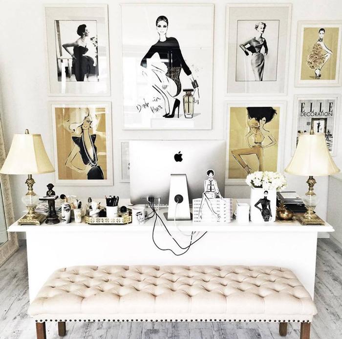Feminine-Home-Office-Modern-Feminine-Worplace-Models-on-The-Wall-Apple-Bright-Office