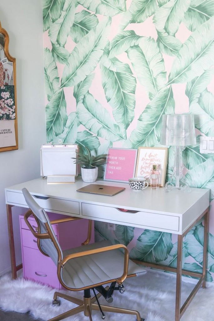 Feminine-Home-Office-Palm-Painted-Wall-Bright-Colors-Office-Feminine-Colors-home-office-feminine-home-office-home-office-ideas-home-office-desk-home-office-design