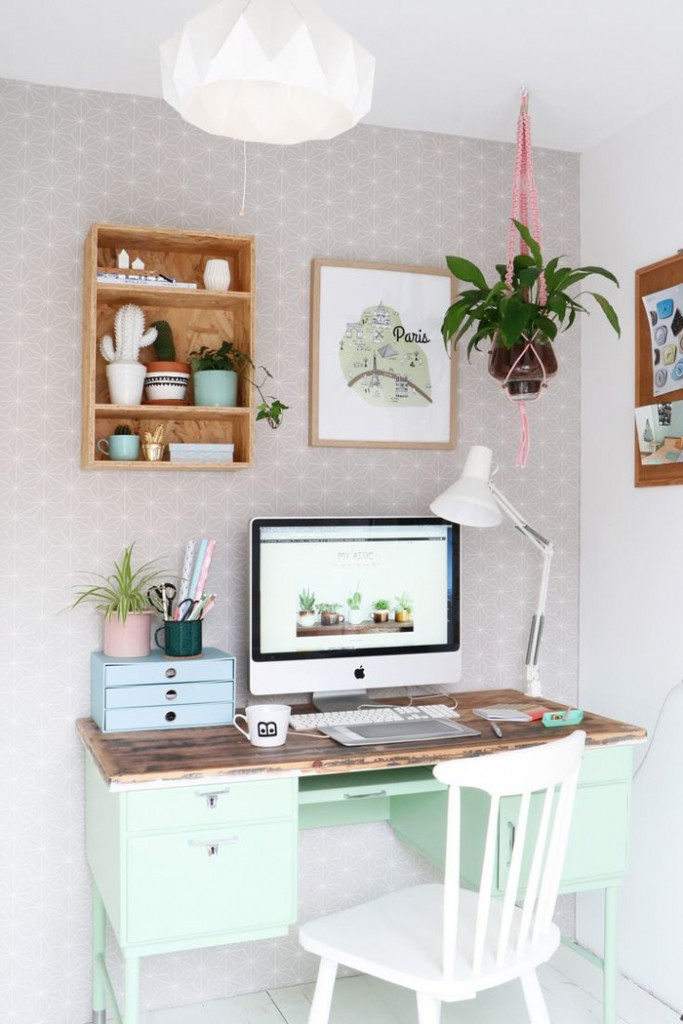 Feminine-Office-Pastel-Green-Desk-Pastel-Colors-Bright-Workspace-home-office-feminine-home-office-home-office-ideas-home-office-desk-home-office-design