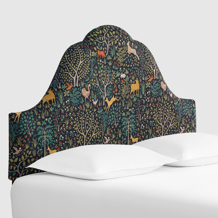 Floral-Upholstered-headboard-Green-Headboard-Modern-Headboard-White-Bed-Interesting-Headboard
