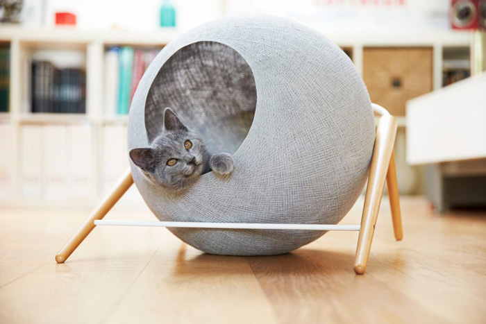 Grey-Modern-Cat-Indoor-House-Grey-Cat-cat-house-indoor-house-pet-beds-cat-houses