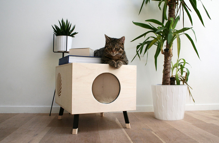 Modern-Cat-Wooden-Indoor-House-With-Pillow-Inside-house-pet-beds-cat-houses