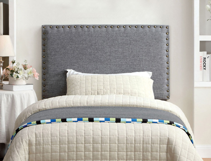 Modern-Grey-Fabric-Headboard-White-Blanket-Bed-Blanket-Flowers-In-Bedroom