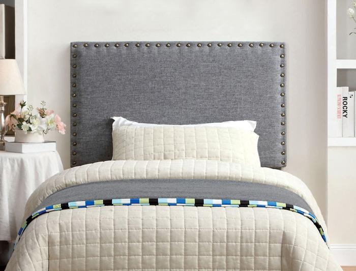 Modern-Grey-Fabric-Headboard-White-Blanket-Bed-Blanket-Flowers-In-Bedroom