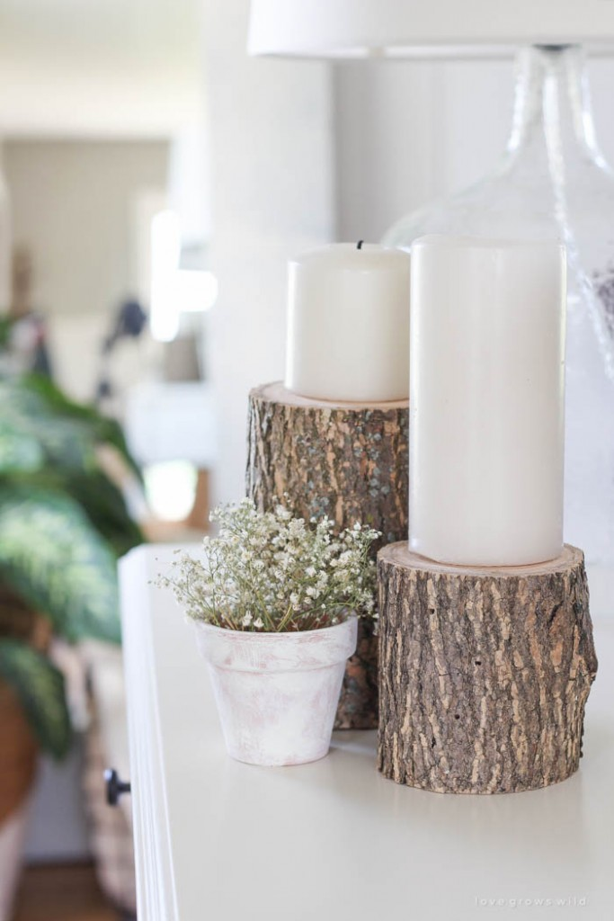 Natural-Decor-Wooden-Candlesholder-White-Candles-Home-Accessories-Natural-Home-Accent-Living-room