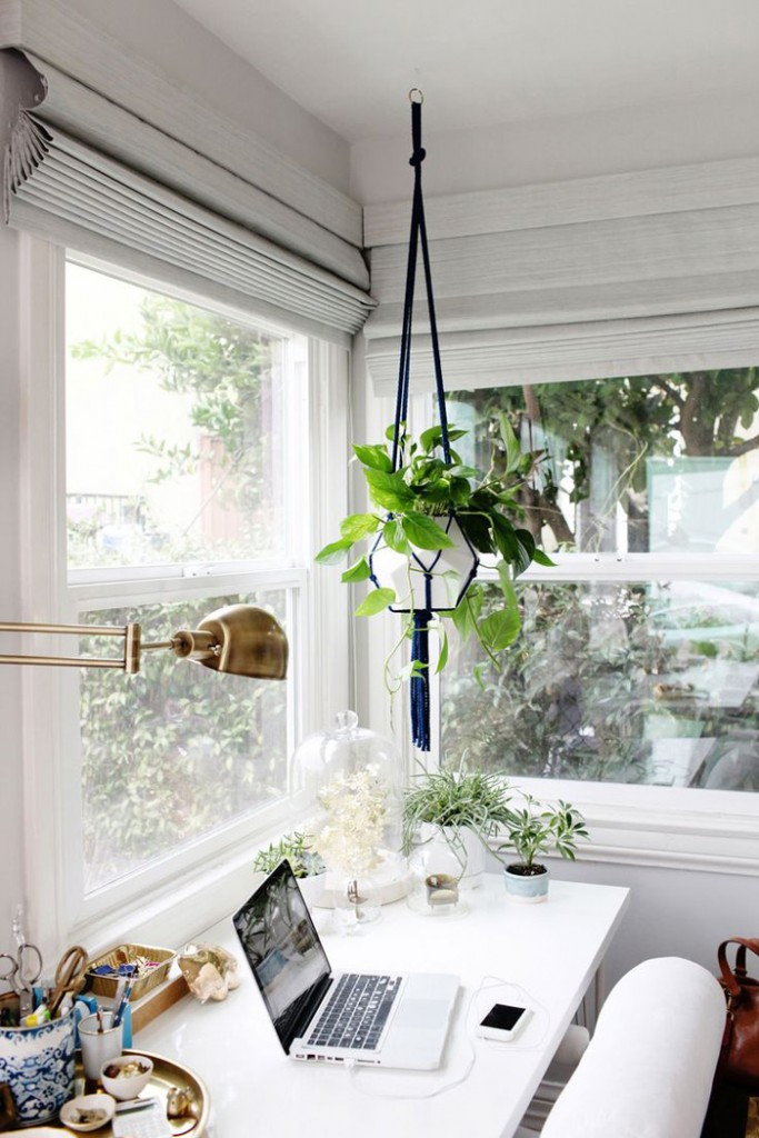 Nature-Inspired-Feminine-Home-Office-Hanging-Flower-Bright-Colors-home-office-feminine-home-office-home-office-ideas-home-office-desk-home-office-design