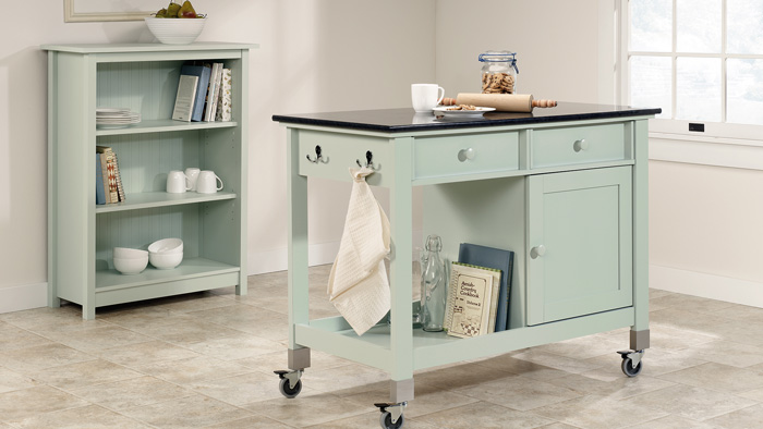 Pastel-Colored-Small-KItchen-Island-on-Wheels