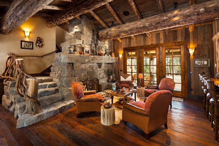 Rustic-Vintage-Living-Room-Wooden-Roof-Wooden-Decor-Fireplace-Natural-Decor