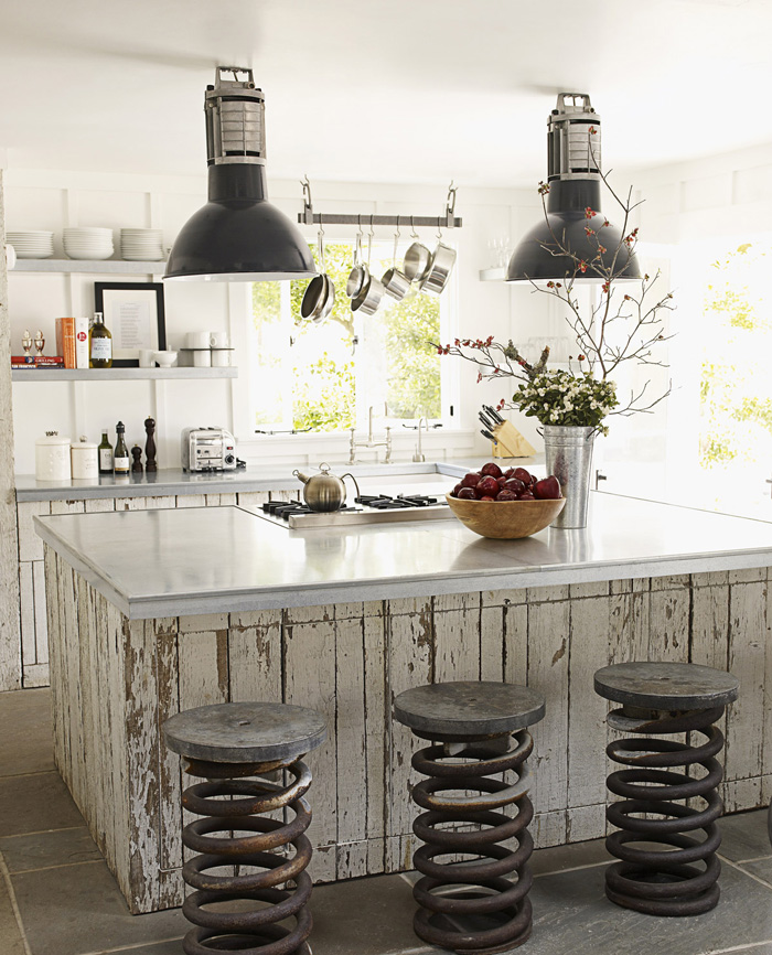 Small-Industrial-Kitchen-Island-Metal-Modern-Chairs-Industrial-Lights