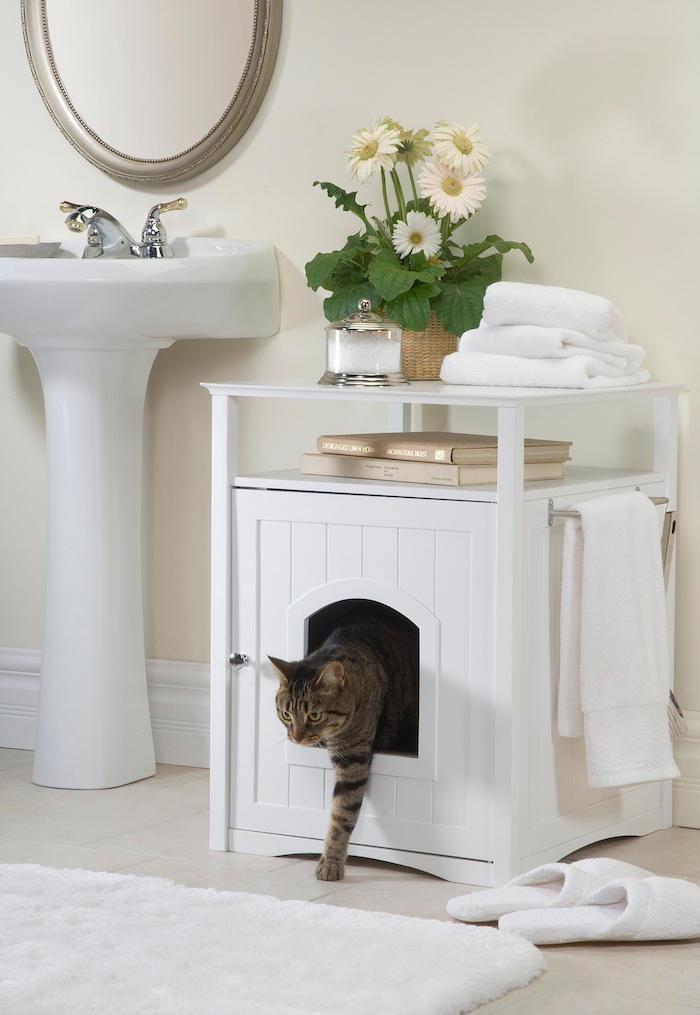 White-Cat-Wooden-Indoor-House-In-The-Bathroom-Cozy-Bathroom