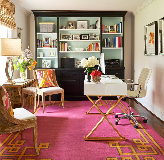 feminine-pink-office-pink-rug-gold-decor-home-office-feminine-home-office-home-office-ideas-home-office-desk-home-office-design