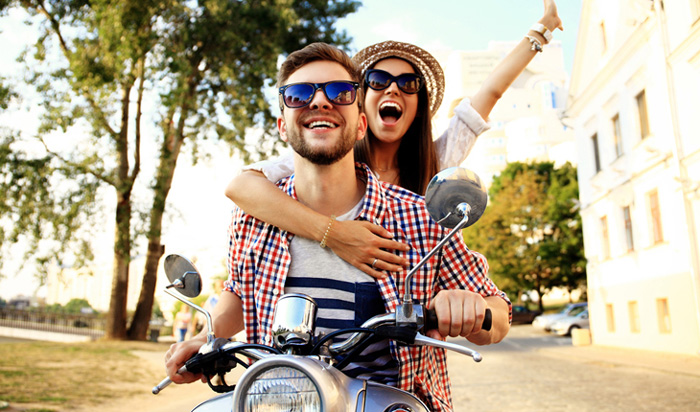 Happy Couple On Bike Enjoying Life Romantic Weekend
