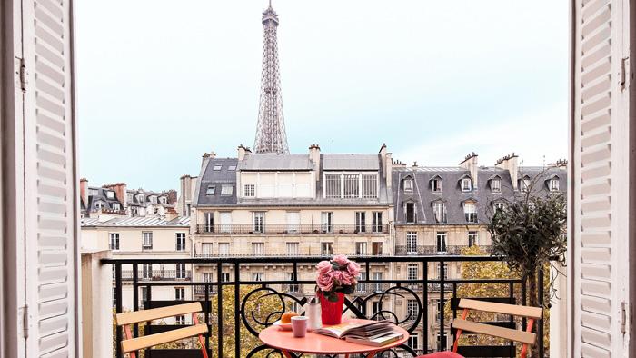 Romantic Paris Balcony Eiffel Towel View