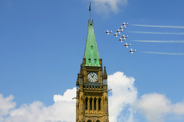 The-Peace-Tower,-Ottawa-clock-tower-clock-square-clock-tower-cafe-smaller-clock-tower-Planes-near-the-tower