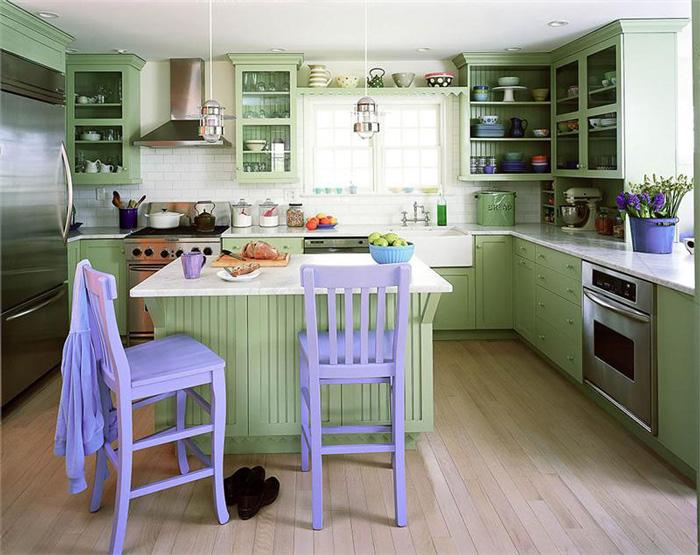 Green-Purple-Kitchen--paint-colors-purple-kitchen-chairs-pastel-green-kitchen-fresh-kitchen
