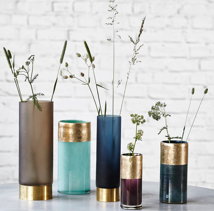 original coloured-glass-and-brass-vases-living-room-decorations-modern-vases-blue-vase-decorative-vase