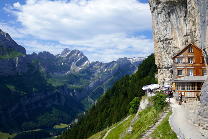 Engadine-Valley Switzerland-View-from-top-of-the-mountain-wooden-house-in-rock