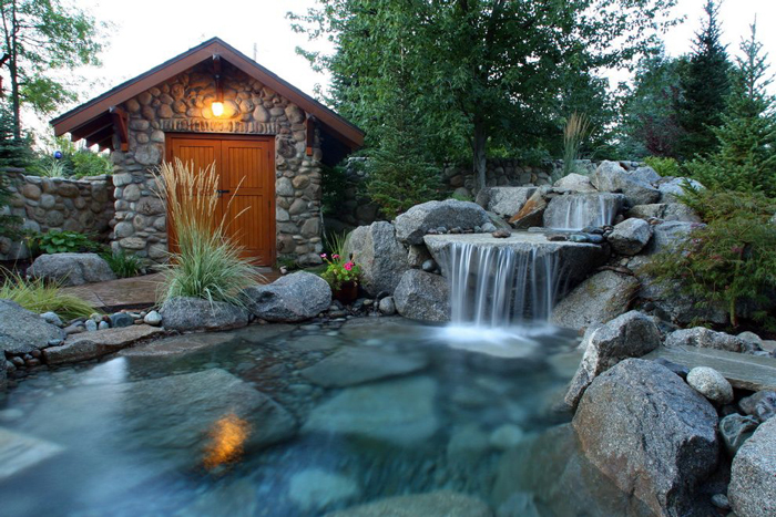 backyard landscape waterfalls yard waterfall displays - Garden Waterfalls