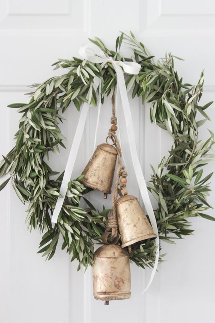 DIY-Christmas-Door-Decor-Olive-Branch-Bells