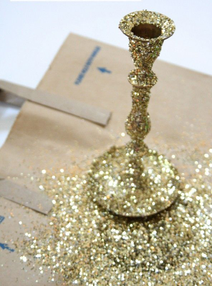 DIY-Christmas-Home-Decoration-Glitter-Candlestick