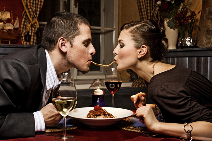 Couple in a Restaurant for St Valentine's Day