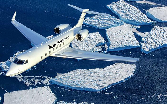 private-jet-white-desert-Antarctica-Plane