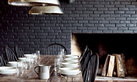 Dining Room with Black Wall