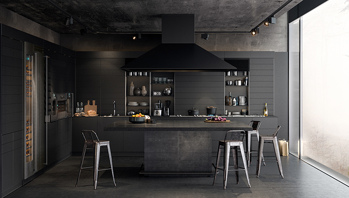 Black-Paint-Color-Modern-Kitchen