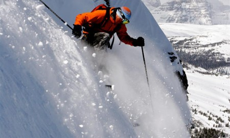 Extreme Skier Riding on Delirium Dive Slope in Canada