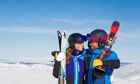 Happy Couple Skiing